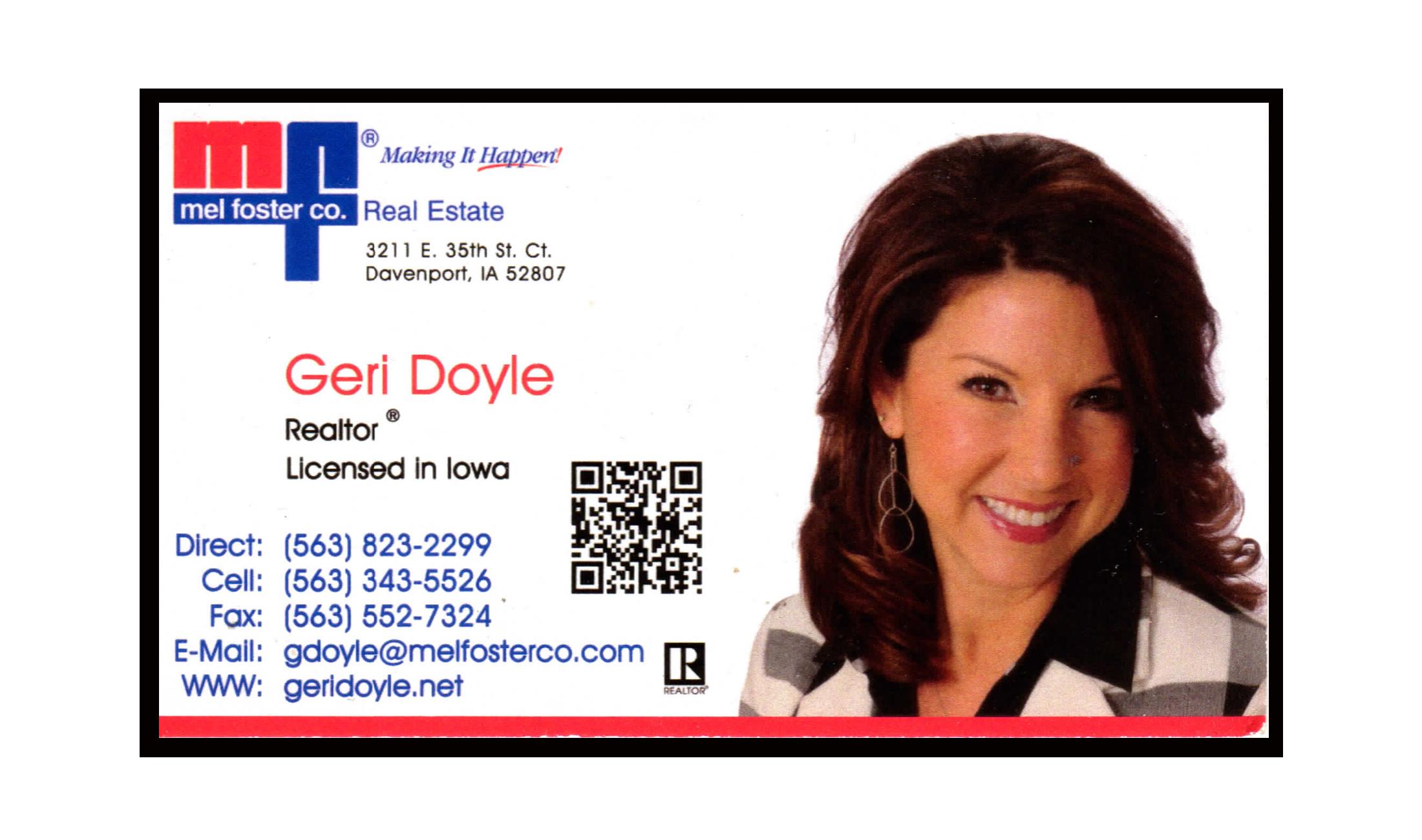 GERI DOYLE business card float