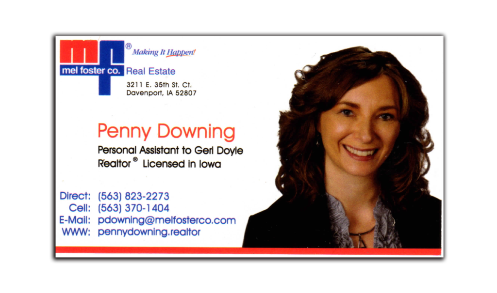 PENNY DOWNING business card float